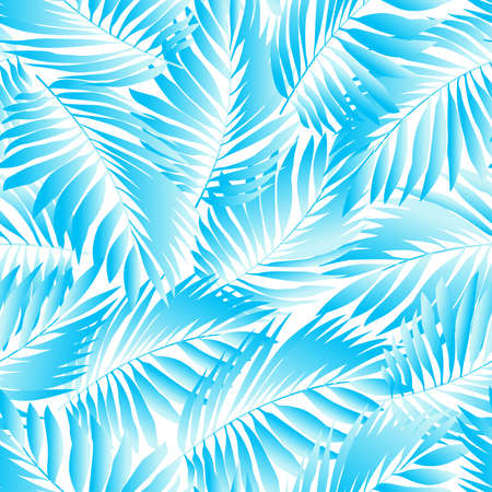 palm trees: Tropical aqua leaves in a seamless pattern .