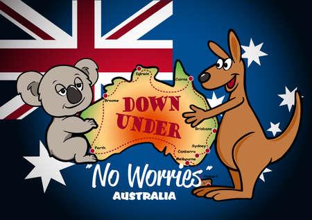 Map of Australia with Koala Kangaroo and flag .