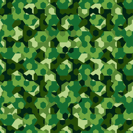 bush: Forest camouflage geometric hexagon seamless pattern . Illustration