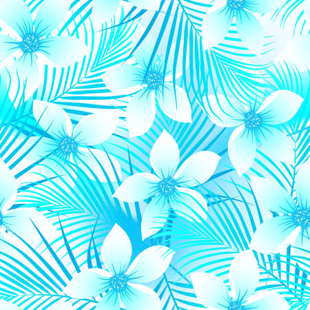 surfing beach: Tropical frangipani hibiscus with palms seamless pattern .