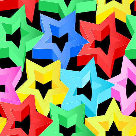pink wall paper: Colorful 3D stars on black seamless pattern .