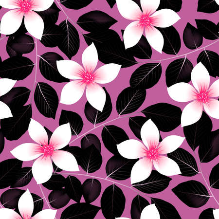 Tropical pink hibiscus flowers with black leaves seamless pattern .