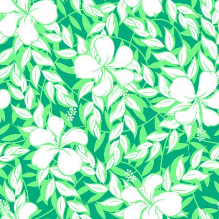 petites fleurs: Blanc fleurs d'hibiscus et de feuilles seamless pattern. Illustration