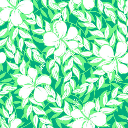 White hibiscus flowers and leaf seamless pattern . Иллюстрация