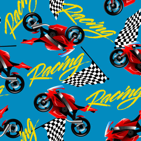 racer flag: Red motorcycle racing with checkered flag seamless pattern .