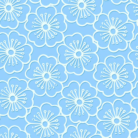White stencil print hibiscus floral seamless pattern . Иллюстрация