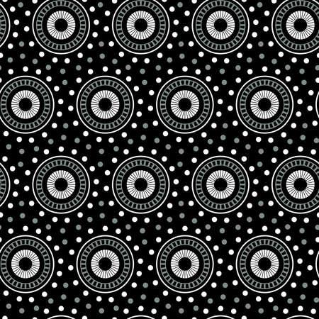 White geometric circle seamless pattern on a black background .
