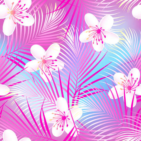 pink plumeria: Tropical frangipani hibiscus with pink palms seamless pattern .