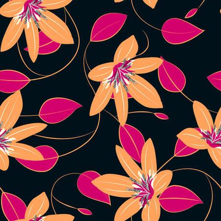 Orange hibiscus flowers and leaves seamless pattern . Иллюстрация