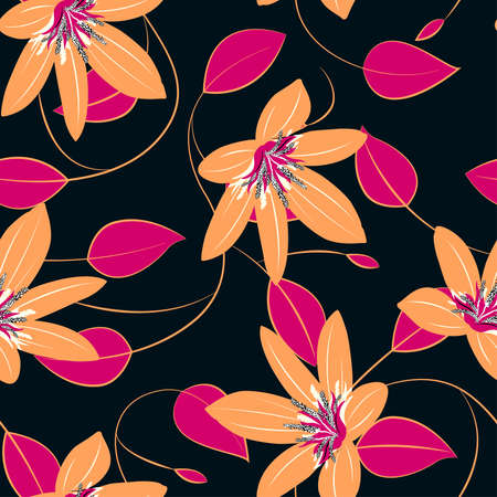 pink wall paper: Orange hibiscus flowers and leaves seamless pattern . Illustration