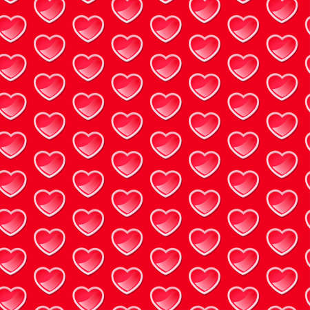 Cute shiny hearts seamless pattern with a red background . Иллюстрация