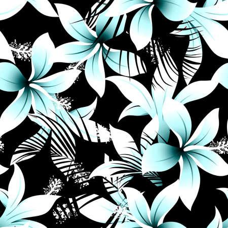 Tropical white frangipani hibiscus with black palms seamless pattern .