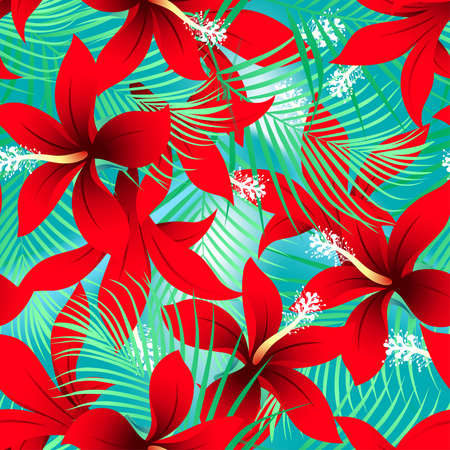 Tropical red frangipani hibiscus with palms seamless pattern . Иллюстрация