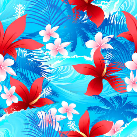 Tropical red hibiscus flowers with surfing wave seamless pattern . Иллюстрация