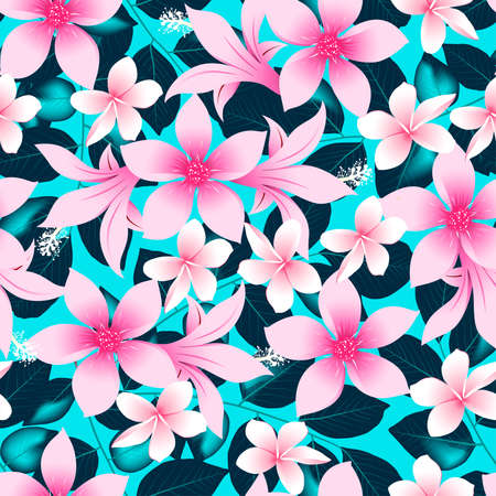 Pink tropical hibiscus flowers with blue leaves seamless pattern .