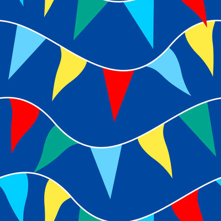 Colored flags on rope in a seamless pattern .