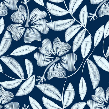 White detailed embroidery hibiscus plant in a seamless pattern .