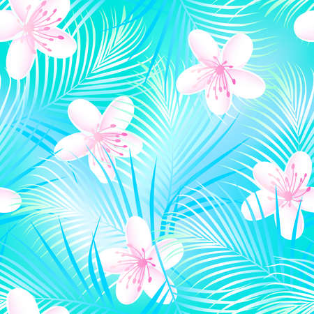 Tropical frangipani hibiscus with blue palms seamless pattern . Иллюстрация