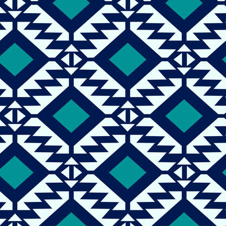Tribal blue and turquoise geometric seamless pattern .