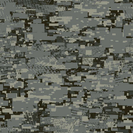 Camouflage urban disruptive block khaki seamless pattern . Illustration