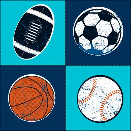 Sports balls children seamless pattern . Иллюстрация