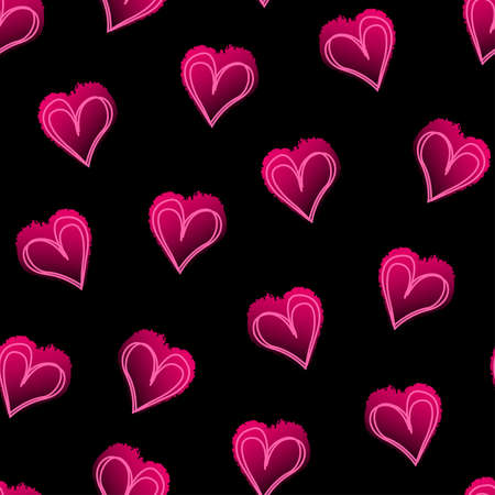 pink and black: Pink love hearts on black seamless pattern .