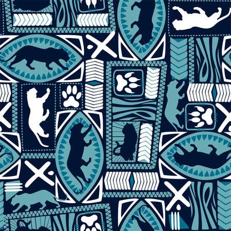 Tribal tiger repeat seamless pattern .