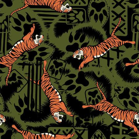 Wild tiger repeat seamless pattern .