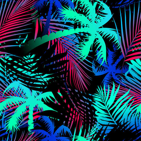 Tropical colored palm leaves seamless pattern .