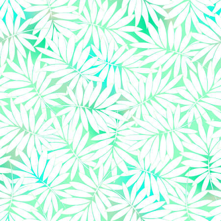 Tropical white and green leaves in a seamless pattern .
