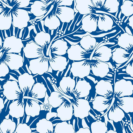 Graphic navy and white tropical flowers seamless pattern .