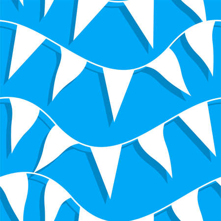 White flags on rope in a seamless pattern .