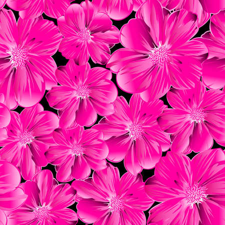 Pink flowers in a seamless pattern .