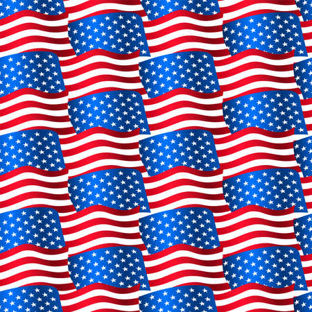 flags usa: USA flags waving in a seamless pattern . Illustration