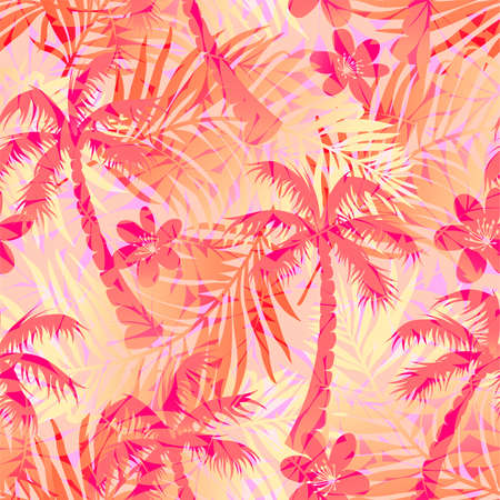 Red abstract tropical palms seamless pattern .