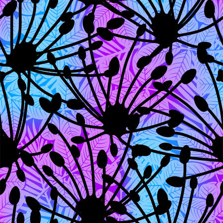 Silhouette tropical floral seamless pattern .
