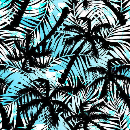 silhouette fleur: Patron transparent des palmiers bleu et noir tropicaux. Illustration