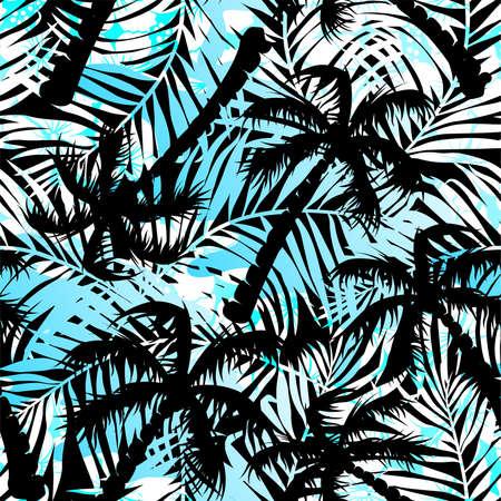 Tropical blue and black palms seamless pattern . Иллюстрация