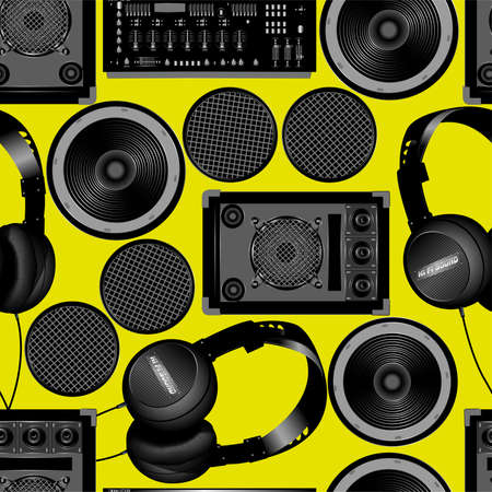 bpm: Sound and subwoofer speakers seamless pattern .