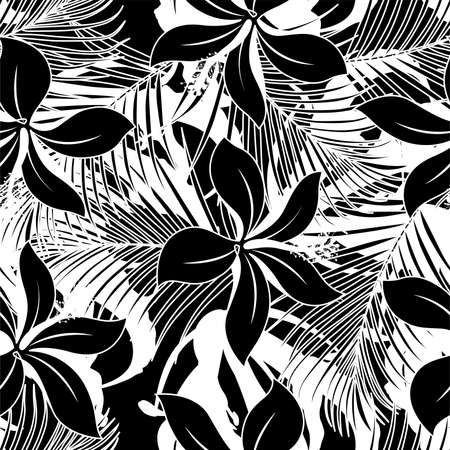 Black and white hibiscus seamless pattern .
