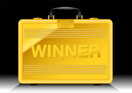Gold suitcase with WINNER sign on side . Иллюстрация