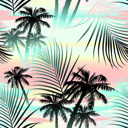 Tropical summer palms seamless pattern .