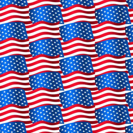 USA flags waving in a seamless pattern . Иллюстрация