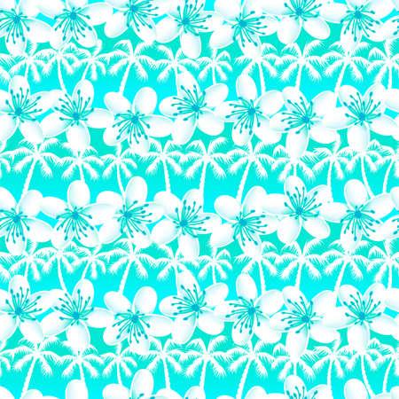 Green and Blue tropical frangipani with palm trees seamless pattern .