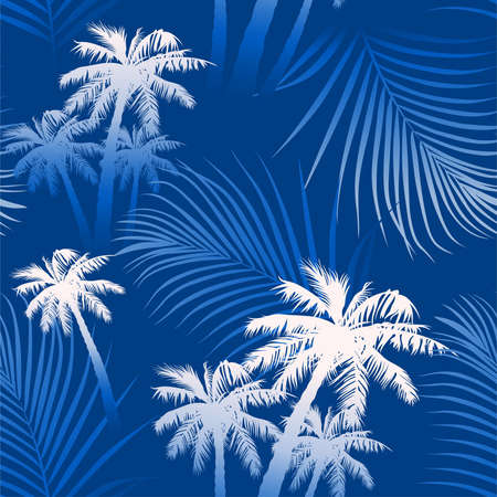 Tropical summer palm trees seamless pattern .