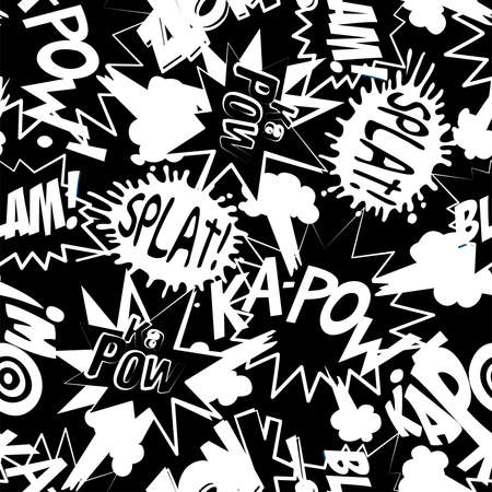 kapow: Comic book action words in a seamless pattern .