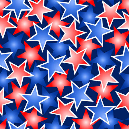 Red white and blue stars seamless pattern . Иллюстрация