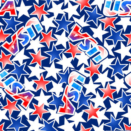 USA flag with stars and stripes seamless pattern . Иллюстрация