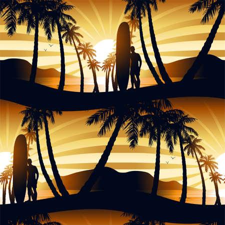 playas tropicales: El practicar surf en la salida del sol con un patrón transparente longboardista. Vectores