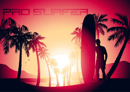 Surfing guy and sunrise at a tropical beach .